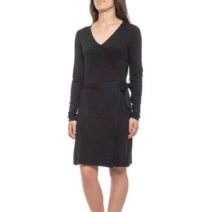 Tahari Black Wrapped Dress - V-Neck, Long Sleeve